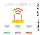 vector wireless router icons...