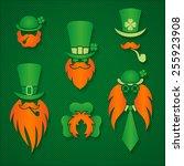 irish people in hats leprechaun ... | Shutterstock .eps vector #255923908