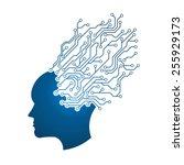 man head circuit logo.... | Shutterstock .eps vector #255929173