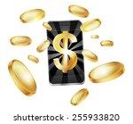 dollar money phone concept   Shutterstock .eps vector #255933820