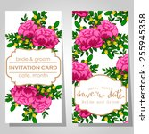 wedding invitation cards with... | Shutterstock .eps vector #255945358
