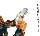 double exposure of hand touch... | Shutterstock . vector #255948229