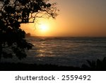 Sunset at the beach on Oahu, Hawaii - stock photo