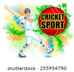 player playing game of cricket... | Shutterstock .eps vector #255954790