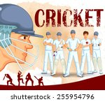 player playing game of cricket... | Shutterstock .eps vector #255954796