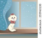 white kitten sitting on a... | Shutterstock .eps vector #255963130