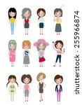 cute girls illustration set | Shutterstock .eps vector #255966874