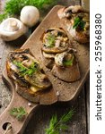 crostini with mushrooms and... | Shutterstock . vector #255968380
