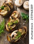 crostini with mushrooms and... | Shutterstock . vector #255968389