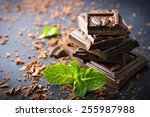 dark chocolate with mint leaf | Shutterstock . vector #255987988