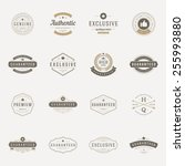 Retro Vintage Premium Quality Labels set. Vector design elements, signs, logos, identity, labels, badges, logotypes, stickers and stamps. Satisfaction, Guaranteed, Highest, Best choice and other text. | Shutterstock vector #255993880