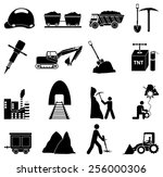 mining construction icons set
