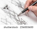 architect hand drawing house... | Shutterstock . vector #256003600