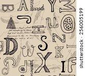 modern hand drawn seamless... | Shutterstock .eps vector #256005199