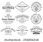 black on white seafood labels... | Shutterstock .eps vector #256006318