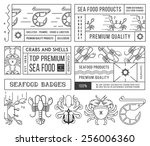 black on white seafood labels... | Shutterstock .eps vector #256006360