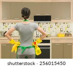 back view of young housewife... | Shutterstock . vector #256015450