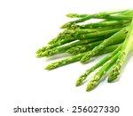 Green Raw Asparagus Isolated O...
