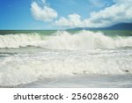 Stock photo beach seaside swimming surfing clearwater waves beautify blue skies holiday islands 256028620