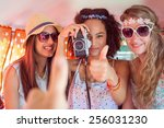 hipster friends on road trip on ... | Shutterstock . vector #256031230