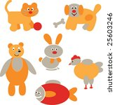 funny animals vector baby set 2 | Shutterstock .eps vector #25603246