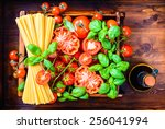italian food background... | Shutterstock . vector #256041994