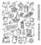 hand drawn vector coffee set ...   Shutterstock .eps vector #256046143
