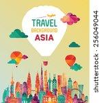 asia skyline detailed... | Shutterstock .eps vector #256049044