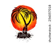 watercolor sun with palm tree.... | Shutterstock .eps vector #256057018