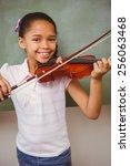portrait of cute little girl...   Shutterstock . vector #256063468