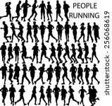 people running big collection   ... | Shutterstock .eps vector #256068619