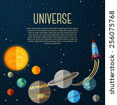 universe banner with solar... | Shutterstock .eps vector #256075768