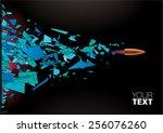 bullet shot smashed the glass... | Shutterstock .eps vector #256076260