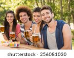 happy friends in the park... | Shutterstock . vector #256081030