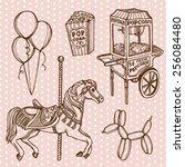 hand drawn retro luna park set. ... | Shutterstock .eps vector #256084480