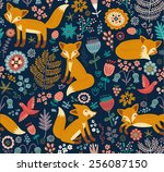 seamless pattern with a fox | Shutterstock .eps vector #256087150