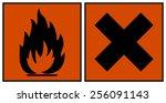 european hazard symbols.... | Shutterstock .eps vector #256091143