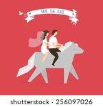 wedding couple on horse. vector ... | Shutterstock .eps vector #256097026