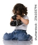 Young Child With Old Slr Camera