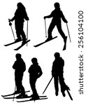collection of silhouettes of... | Shutterstock .eps vector #256104100