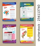 set of flyer  brochure design... | Shutterstock .eps vector #256113760