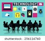 technology social media... | Shutterstock . vector #256116760