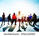 business people rush hour... | Shutterstock . vector #256122040