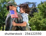 soldier reunited with her son... | Shutterstock . vector #256122550