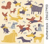 vector background with dogs | Shutterstock .eps vector #256127953