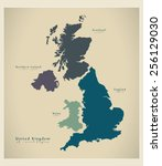 modern map   united kingdom uk | Shutterstock .eps vector #256129030