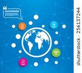 abstract world globe. mobile... | Shutterstock .eps vector #256137244