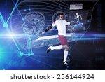 football player in white... | Shutterstock . vector #256144924