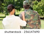 handsome soldier reunited with... | Shutterstock . vector #256147690