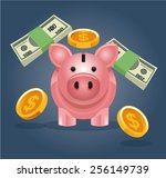 vector piggy bank illustration | Shutterstock .eps vector #256149739